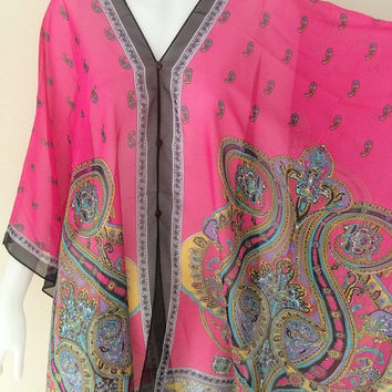 Scarf Shawl Beach Cover up Hippie Boho Gypsy Tunic Caftan Top sheer dress paisley print