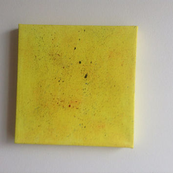 canvas acrylic painting, yellow size 15x15 cm