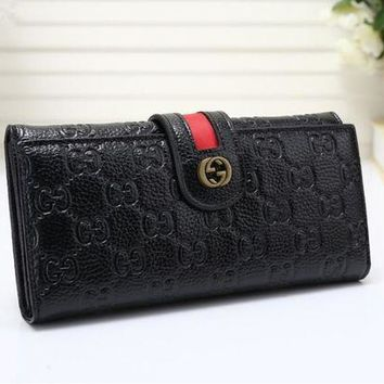 DCCK6HW Gucci' Women Purse Retro Fashion Personality Embossed Long Section Double Layer Button Flip Wallet Handbag