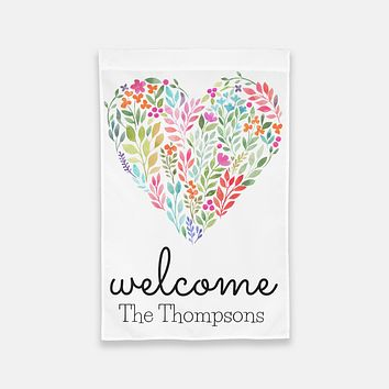 Personalized Floral Welcome Garden Flag
