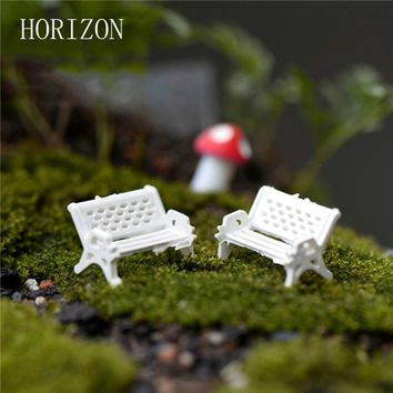 2Pcs/LOT white chair doll house miniatures lovely cute fairy garden gnome moss terrarium decor crafts bonsai DIY 3 Sizes