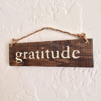 Gratitude Sign / Inspirational Sign / Yoga Decor / Bohemian Sign
