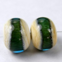 Handmade Glass Beads Lampwork Beads Opaque Ivory Glass Teal Band SRA
