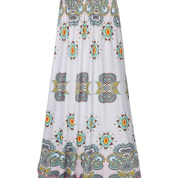 Streetstyle  Casual Ethnic Style Printed Flared Maxi Skirt