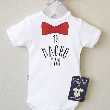 Funny Baby Boy Clothes. Mr. Macho Man Baby Romper. Baby Boy Cute Clothes. Bow Tie Boys Outfit. Infant Boy Shirt. Choose Your Color.