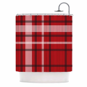 "Famenxt ""Plaid Red"" Red Black Digital Shower Curtain"