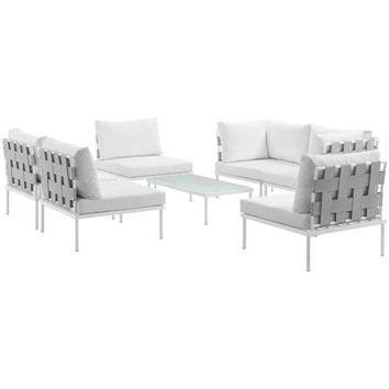 Harmony 7 Piece Outdoor Patio Aluminum Sectional Sofa Set, White White - EEI-2617-WHI-WHI-SET