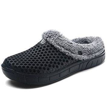 HKR Men Women Indoor Outdoor House Slippers Unisex Faux Fur Lined Garden Clogs Shoes