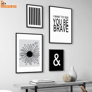 Canvas Painting Black White Wall Art Flower Quotes Pop Art Nordic Style Kids Decoration Posters And Prints Wall Pictures Home