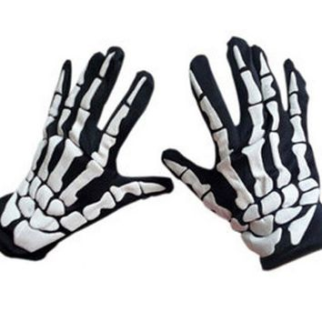 Adult Halloween Black White Skeleton Gloves Skeleton ghost clothes Grim Reaper gloves Fancy Dress Accessory Ghost Bones