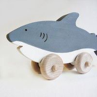 Wooden Shark Push Toy- Eco Friendly Waldorf