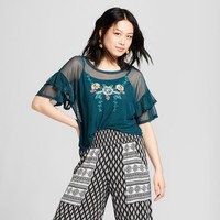 Women's Bell Sleeve Embroidered Crop Top - Xhilaration™