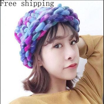 ESBU3C Fashion Women Hat Super Thick Yarns Hand Woven Knitted Hat Winter Warm Slouch Beanie Ski Cap Coarse Line Thick Wool Crochet Hat