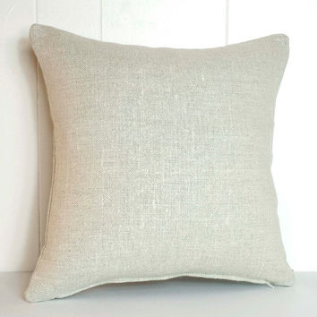 16x16 and 18x18 Light Brown Belgian Linen Throw Pillow Cover