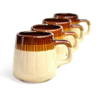 Rustic Stoneware Coffee Mugs (Set of 4) - Brown Stripe, Retro Kitchen - Hot Chocolate Serving - Vintage Home Decor