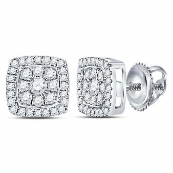 14kt White Gold Womens Round Diamond Square Cluster Earrings 1-4 Cttw