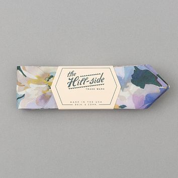 Lightweight Watercolor Floral Print Bow Tie, White