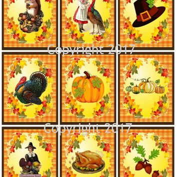 """Printed Vintage Victorian Thanksgiving Cards Collage Sheet  8.5 x 11"""""""