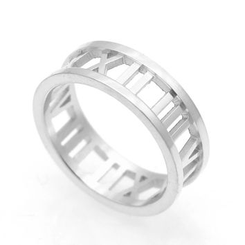 Roman Numerals Stainless Steel Ring - Silver