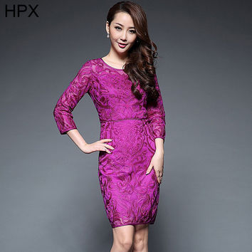 Women Purple Floral Embroidery Bodycon Pencil Hip Elegant Work Dress 2016 Autumn Winter new Ladies High quality Dresses XXXL