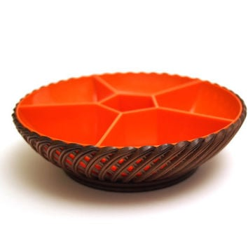 Emsa  Party-time,  Party snack bowl. Orange Brown. Classic 1970's design. West Germany.