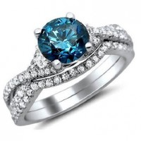 1.50ct Blue Round Diamond Engagement Ring Bridal Set 18K White Gold