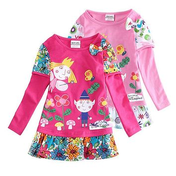 Hot sale girls dresses nova baby kids clothes ben and holly long sleeve flower vestidos children party casual dress