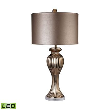 Copper Ribbed Tulip LED Table Lamp Copper