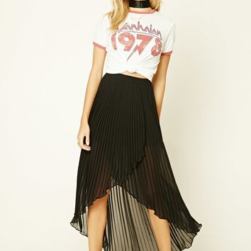 Pleated Tulip-Hem Skirt