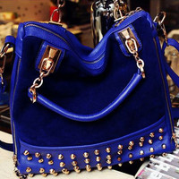 Rivets decoration leather messenger woman handbag