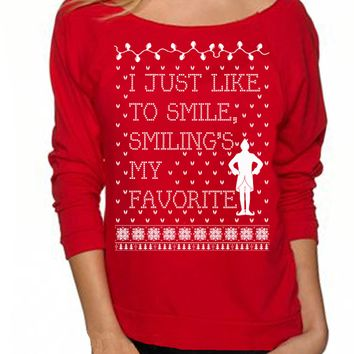 Red Letter Print Long Sleeve Sweater