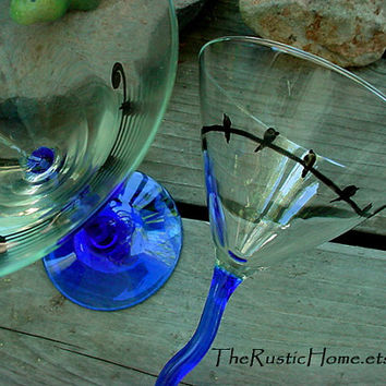 2 Black bird on a wire martini glasses set blue and black