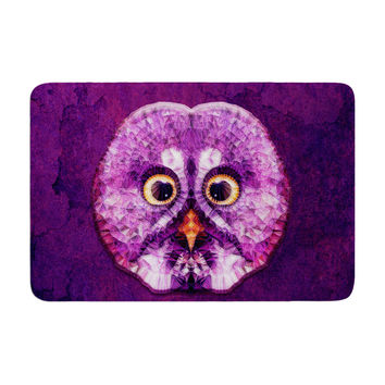 "Ancello ""Hoot!"" Owl Purple Memory Foam Bath Mat"