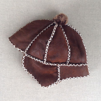 Little E.D.A Hand Stitched Shearling Hat (1y)