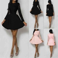 Women Long Sleeve Lace Floral Mini Dress Party Cocktail Evening Dress