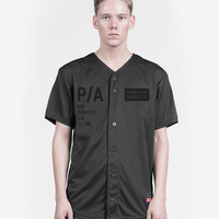 Black Box Light Mesh Baseball Jersey in Black