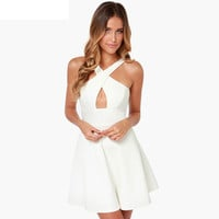 Cross Strap A-Line Backless Summer Dress