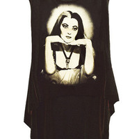Lily Munster The Munsters Photo Printed HI-LOW Hemline Gothic T-Shirt Top