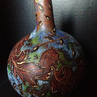 Fall leaves Gourd; Handcrafted; hand painted