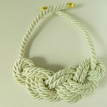 Rope Bib necklace Continuous Eight Figure Knot Statement Necklace Braided Off White Ivory Nautical Necklace Chunky necklace cord fiber