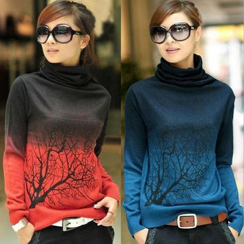 Hot New Women Winter Crochet Knitted Cashmere Pullovers Branch Pattern Gradient Color Oversized Turtleneck Sweater Jumper = 1705617924