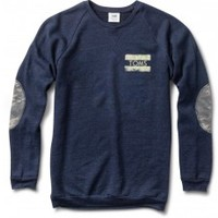 Women's Crewneck Sweatshirt with Camo Elbow Patches- Heather Navy