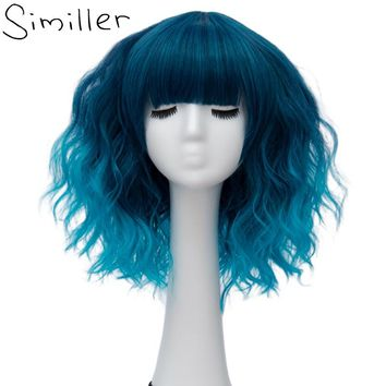 "Similler Ombre Blonde Blue Gray Party Cosplay Wig Short Water Wave Hair Synthetic Wigs for Black Women 14"" 21 Colors Available"