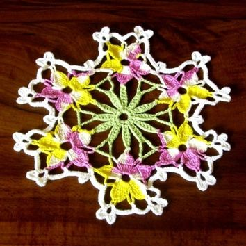 Purple & Yellow Viola Bouquet - Handmade Crocheted Lace Doily