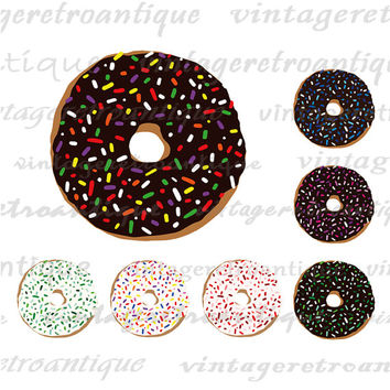 Printable Graphic Donut with Sprinkles Image Doughnuts Digital Collage Sheet Download Vintage Clip Art for Transfers etc HQ 300dpi No.1995