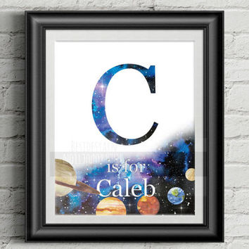 Boy Room Monogram Letter Personalized Name Nursery Art, Alphabet Print, Printable Kids Room Decoration, Boy Gift, Baby Shower Decoration