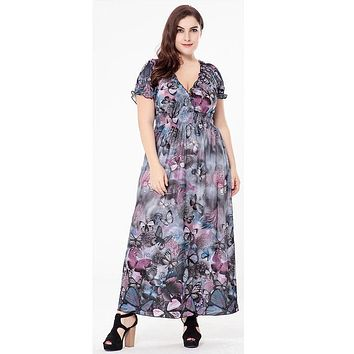 loose butterfly printed long dresses