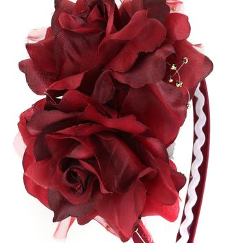 Burgundy Girls Organza & Satin Double Flower Headband