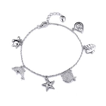 Attina Charm Bracelets for Women, Turtle Dolphin Starfish Seashell Charms, 925 Sterling Silver
