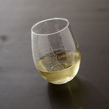 Chicago Map Stemless Wine Glass